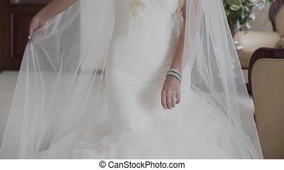 blanc, femme, robe, mains