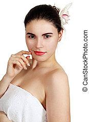 blanc, femme, serviette