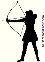 blanc, femme, silhouette, fond, arc
