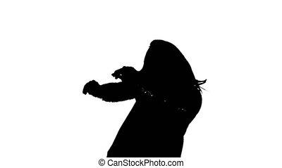 blanc, femme, silhouette, fond, danse