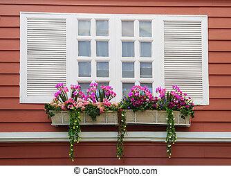blanc, fenêtre, sur, mur rouge