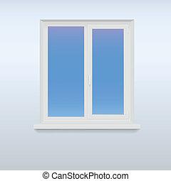 blanc, fermé, fenêtre., plastique