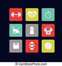 blanc, fitness, icônes