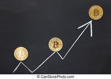 blanc, flèche, bitcoin, concept