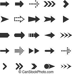 blanc, flèche, fond, icônes