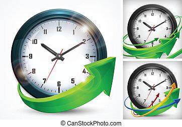 blanc, flèches, horloge