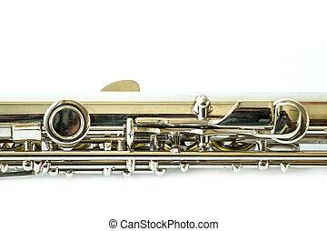 blanc, flûte, isolé, fond