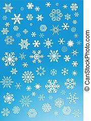 blanc, flocons neige, sur, arrière-plan bleu