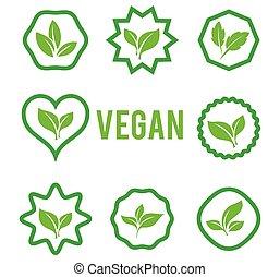 blanc, formes, arrière-plan., plants., ensemble, divers, isolé, vert, icône, vecteur, feuilles, arbres