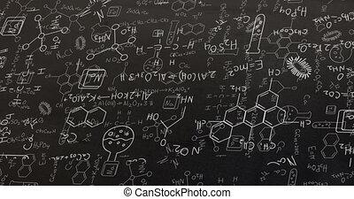 blanc, formulae, structural, chimique, tableau noir, animation, composés