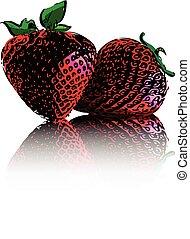 blanc, fraises, isolé, fond