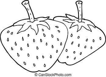 blanc, fraises, noir, dessin animé