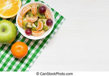 blanc, fruit, frais, bol, sommet, copie, fond, sain, bois, vue, salade, espace