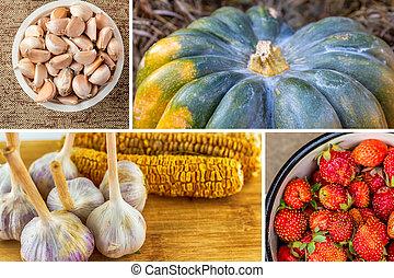 blanc, fruits, grand, ail, fraises, citrouille, bol, assorti, clous girofle, légumes