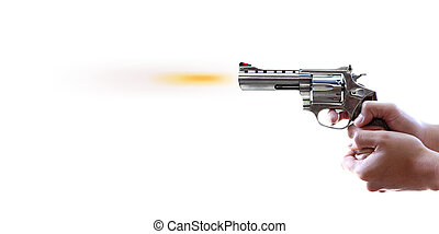 blanc, fusil, fond, main