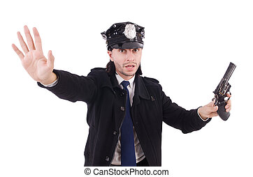 blanc, gendarme, isolé