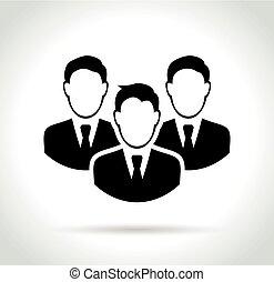 blanc, gens, fond, icône