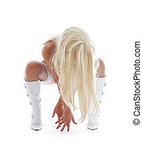 blanc, girl, bottes