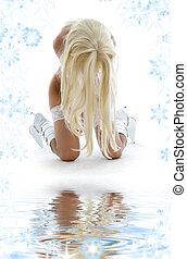 blanc, girl, bottes, sable
