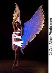 blanc, girl, sexy, vue, porter, ailes