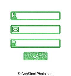 blanc, gribouiller, signe., toile, arrière-plan., navigateur, page, solide, fenêtre, vert, illustration., icône, login, contour