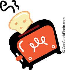 blanc, grille-pain, isolé, dessin animé, retro