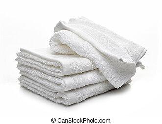 blanc, hôtel, serviettes, fond, pile