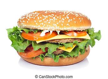 blanc, hamburger, isolé