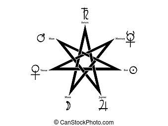 blanc, heptagram, vecteur, rituel, isolé, planétaire, fond