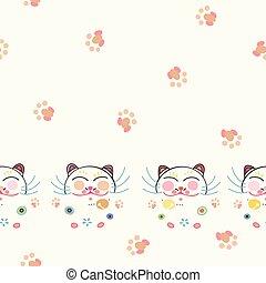 blanc, heureux, frontière, florals., chat