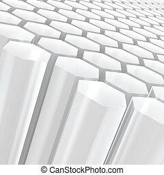 blanc, hexagone, composition, moitié transparent