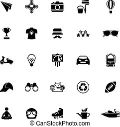 blanc, hipster, fond, icônes
