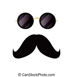 blanc, hipster, moustache, fond, lunettes