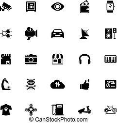 blanc, hitechnology, fond, icônes