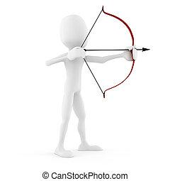 blanc, homme, archer, isolé, 3d
