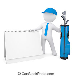 blanc, homme, calendrier, tenue, 3d
