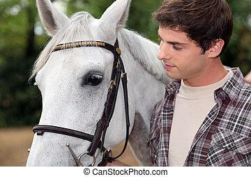 blanc, homme, cheval, jeune