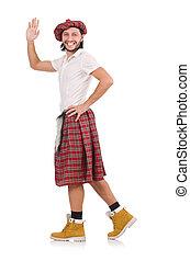 blanc, homme, jupe, isolé, écossais