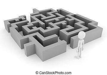 blanc, homme, labyrinthe, fond, 3d