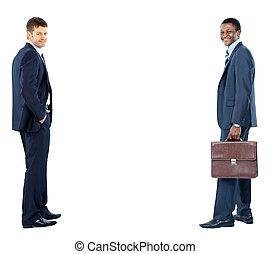 blanc, hommes affaires, isolé, fond, deux