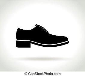 blanc, hommes, chaussure, fond, icône