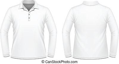 blanc, hommes, manche longue, chemise