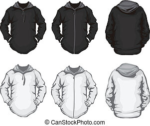 blanc, hommes, noir, sweatshirt, hoodie