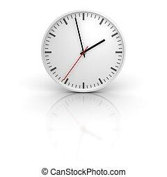 blanc, horloge, à, réflexion., 3d, rendu, illustration.