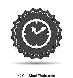 blanc, horloge, fond, icône, isolé