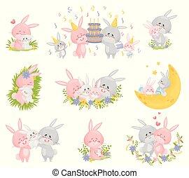 blanc, humanized, arrière-plan., lapins, famille, situations., illustration, différent, vecteur