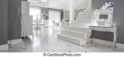 blanc, hypnotisez couloir, luxe