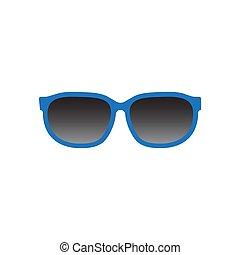 blanc, icône, lunettes soleil, isolé, vecteur