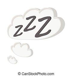 blanc, icône, zzz, nuage, dessin animé