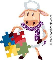 blanc, illustration, mouton, puzzle, vecteur, arrière-plan.